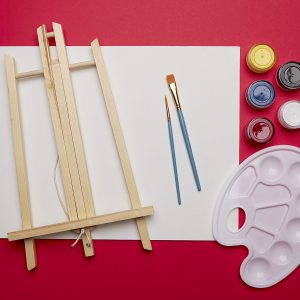 full painting kit with canvas paints and brushes